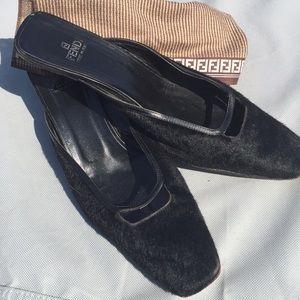 Vintage Fendi Fur Mule Shoes
